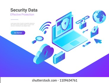 Security Data Protection Antivirus Anti spam illustration. Laptop Computer with Cloud Folder Mail Wifi Link Search icons isometric style vector.
