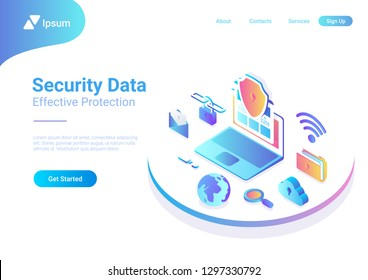 Security Data Protection Antivirus Anti spam illustration. Laptop Computer with Cloud Folder Mail Wifi Link Search icons isometric style vector