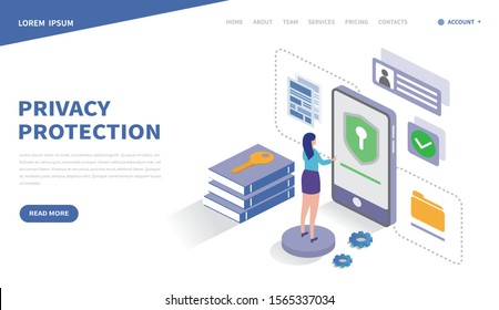 Security data protection concept. computing or server technology. Internet security. data security Access. Landing page template. Can use for web and banner. 3d vector isometric illustration.