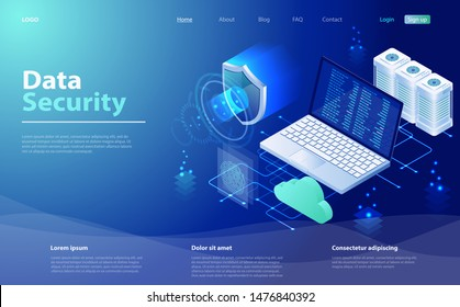 Security Data Protection concept. Data security, protection, management, server, access. Internet security isometric concept. Isometric concept protection network and data. Data network management