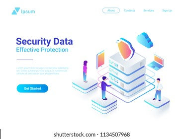 Security Data Protection Isometric Flat vector illustration concept. People works with Server Laptop Mobile Smartphone in Cloud network.