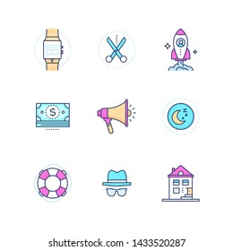 Security and data protection - modern line design style icons set. High quality pink, blue images with electronic watch, night sign, scissors, rocket, megaphone, building, money, incognito, life ring