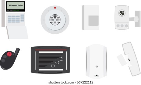Security Detectors and Devices Vector Images Isolated on White Background