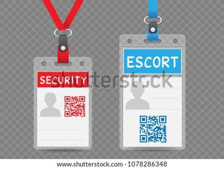 security escort vertical badge empty template stock vector royalty