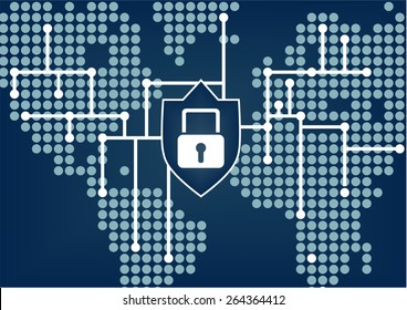 IT security for global organization to prevent data and network breaches with dark blue blurred background