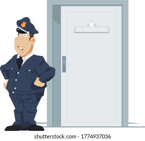 Security guard or bouncer working at door. Funny people.