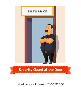 Security guard or bouncer working at the door. Flat illustration. EPS 10 vector.