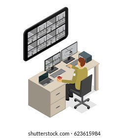 Security Guard Monitoring Service Isometric View Technology Control Protection for Office and Home. Vector illustration