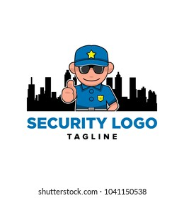 Security Guard, Officer, Cop, Police, Law with Cityscape Silhouettes Logo Icon Template