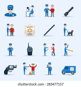 Security guard officer service cartoon character icons set with patrolling and detention duties  abstract isolated vector illustration