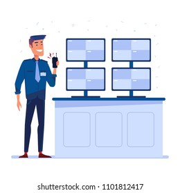 Security guard with portable radio in front of the screens in security control room. Surveillance, public safety and protection concept. Vector flat design illustration on white background.