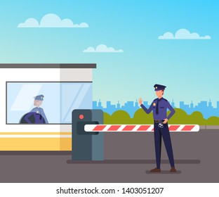 Security guard protect toll booth. Vector flat graphic design illustration
