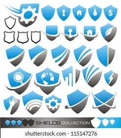 Security guard - set of shield icons, symbols logos and signs.