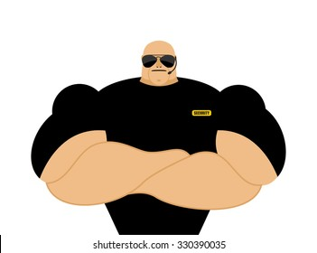 Security guard. Strong Athletic man in black clothes. Protection of property and  individual.