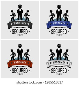 Security guards logo design. Vector artwork of watchman, security officers, or soldier protecting and patrolling.