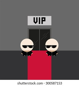 Security guards watching the red carpet at the VIP entrance to the club