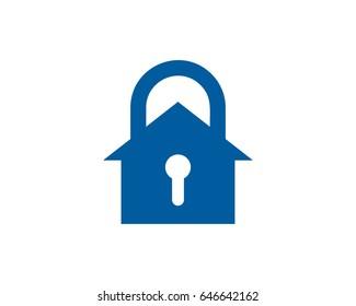 Security House Lock Icon Logo Design Element