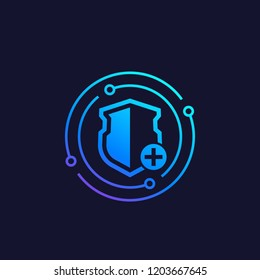 Security icon with add sign, data protection concept