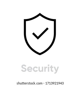 Security icon. Editable Vector Outline. Flat shield and checkmark icon. Safety, protection. Single Pictogram.