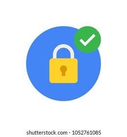 Security icon. Modern flat vector icon, Circle with padlock and check mark.