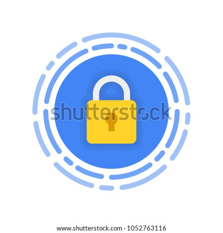 Security icon. Modern flat vector icon, Circle with padlock.
