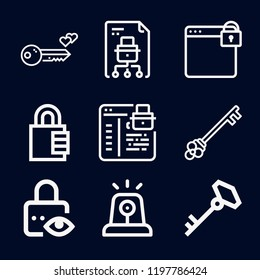 Security icon set - outline collection of 9 vector icons such as padlock, file, browser, locked, key