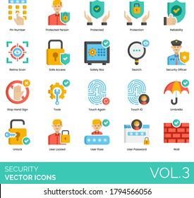 Security icons including pin number, protected person, protection, reliability, retina scan, safe access, safety box, search, officer, stop hand sign, tools, touch again, ID, umbrella, password, wall.