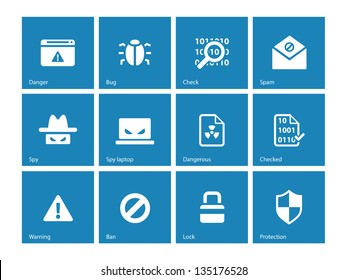 Security icons on blue background. Vector illustration.
