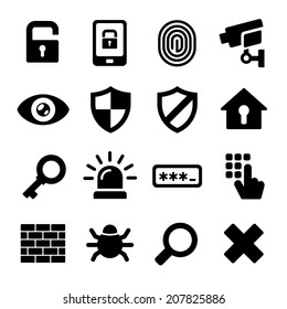 Security Icons on White Background. Vector Illustration