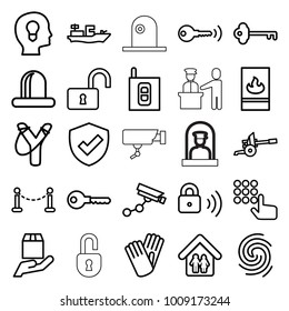 Security icons. set of 25 editable outline security icons such as fence, gloves, key, sligshot, hand on atm, opened lock, siren, cargo protection, head with keyhole, shield