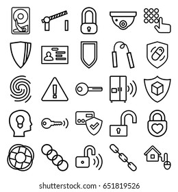 Security icons set. set of 25 security outline icons such as badge, chain, cargo insurance, heart lock, health insurance, key, smart home, road barrier, finger print, intercom