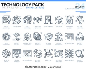 Security Icons Set. Editable Stroke. Technology outline icons pack. Pixel perfect thin line vector icons for web design and website application.