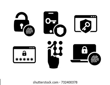 Security identity authentication icons set 01 in Black and White