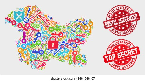 Security Jammu and Kashmir State map and watermarks. Red round Top Secret and Rental Agreement grunge watermarks. Bright Jammu and Kashmir State map mosaic of different security elements.