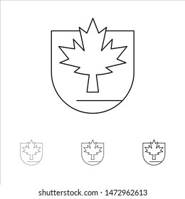 Security, Leaf, Canada, Shield Bold and thin black line icon set