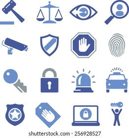 Security and legal theme icon set.