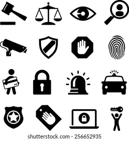 Security and legal theme icons