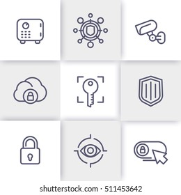 Security line icons set, secure transaction, strongbox, video surveillance, authentication, biometric recognition, safety