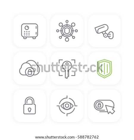 Security Line Icons Set Secure Cloud Stock Vector (Royalty Free