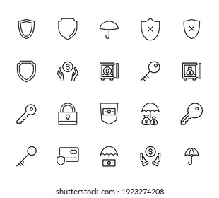 Security line icons set. Stroke vector elements for trendy design. Simple pictograms for mobile concept and web apps. Vector line icons isolated on a white background.