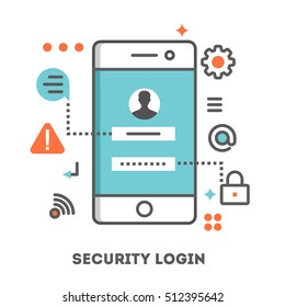 Security Login on a smartphone. Flat line style of illustration