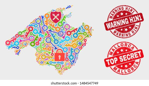 Security Mallorca map and watermarks. Red round Top Secret and Warning H1N1 grunge watermarks. Bright Mallorca map mosaic of different lock icons. Vector composition for security purposes.