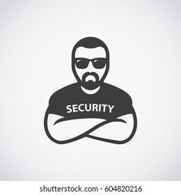 Security man icon. Bouncer in sunglasses