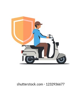 security man riding scooter with shield business protection safe privacy database concept isolated flat vctor illustration