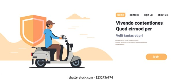 security man riding scooter with shield business protection safe privacy database concept isolated flat horizontal copy space vector illustration