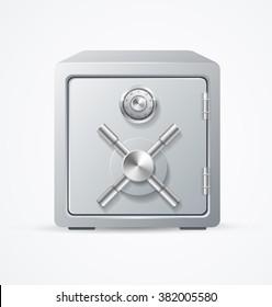 Security Metal Safe on White Background. Vector illustration