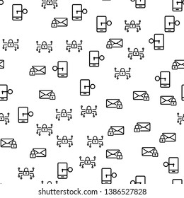 Security Mobile System Seamless Pattern Vector. Smartphone, Letter, Security Center And Lock With Key Monochrome Texture Icons. Protection Of Personal Information Template Flat Illustration