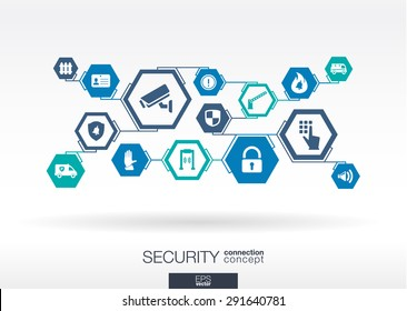 Security network. Hexagon abstract background with lines, polygons, and integrate flat icons. Connected symbols for guard, police, protection, monitoring, safety, control concepts. Vector illustration