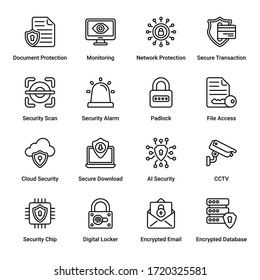 Security outline Icons - stroke, vector