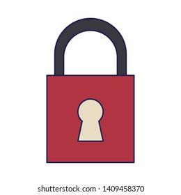 security padlock cartoon vector illustration graphic design